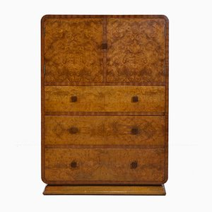 Art Deco Birch, Burr, and Oak Tallboy Dresser, 1930s