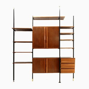Italian Metal, Brass, and Wood Wall Unit, 1950s