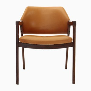 Sedia da scrivania in pelle di Ico & Luisa Parisi per Cassina, anni '60