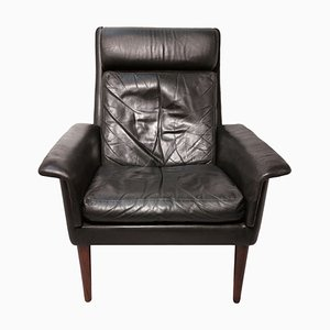 Rosewood & Leather Armchair by Arne Vodder for Fritz Hansen, 1960s