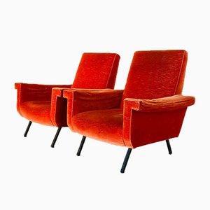 Rote Samtsessel von Marco Zanuso, 1960er, 2er Set