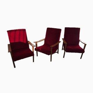 Scandinavian Red Moleskin Rocking Chairs, 1960s, Set of 3