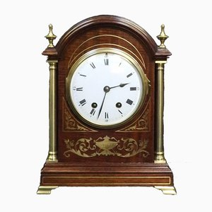 French Mahogany & Brass Inlaid Mantel Clock from Samuel Marti, 1900s