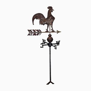 Antique French Patinated Tole Weather Vane Rooster