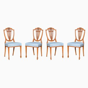 Antique Georgian Satinwood Side Chairs, Set of 4