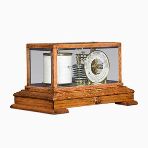 Antique Oak Barograph and Barometer