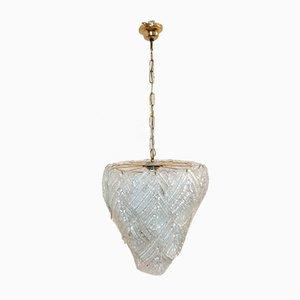 Lámpara colgante con hojas de cristal de Murano de Mazzega, años 70
