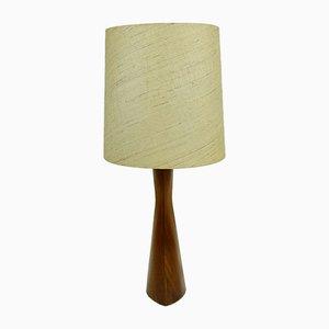 Danish Teak and Silk Table Lamp, 1960s