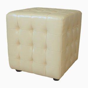 Tabouret Cube en Cuir Blanc, années 80