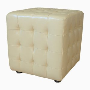 White Leather Cube Stool, 1980s