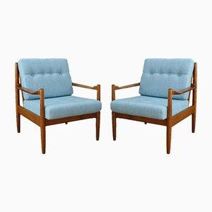 Hellblaue Polsterstühle im skandinavischen Design, 1950er, 2er Set
