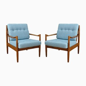 Scandinavian Light Blue Armchairs, 1950s, Set of 2