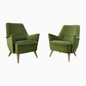 Chaises Mid-Century Vertes, années 50, Set de 2