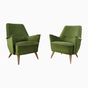 Mid-Century Green Chairs, 1950s, Set of 2