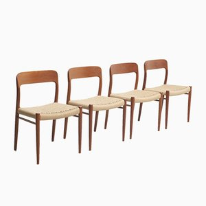 Esszimmerstühle mit Sitz aus Papierkordelgeflecht von Niels Otto Møller für J.L. Møllers, 1954, 4er Set