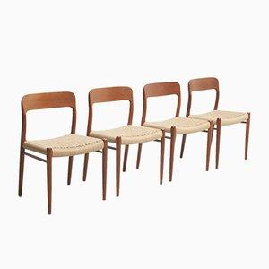 Sedie da pranzo in corda di Niels Otto Møller per J.L. Møllers, 1954, set di 4
