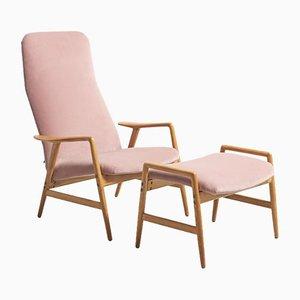 Mid-Century Sessel mit Fußhocker von Alf Svensson für Fritz Hansen