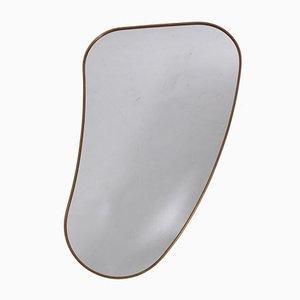 Italian Brass Rimmed Biomorphic Mirror, 1950s