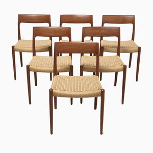 Mid-Century Papercord Dining Chairs from J.L. Møllers, Set of 6