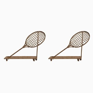 Bamboo and Rattan Racket Shelves, 1960s, Set of 2