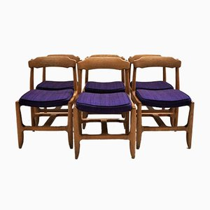 Oak and Fabric Dining Chairs by Guillerme et Chambron for Votre Maison, 1970s, Set of 6