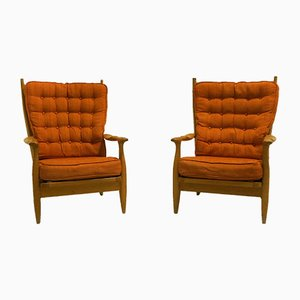 Lounge Chairs by Guillerme et Chambron for Votre Maison, 1970s, Set of 2