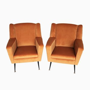 Velvet and Brass Armchairs, 1950s, Set of 2