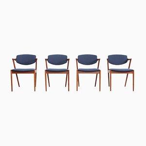Chaises de Salle à Manger 42 en Teck par Kai Kristiansen pour SVA Møbler, années 50, Set de 4