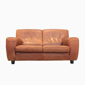Italian Leather 2-Seat Sofa from Molinari, 1980s