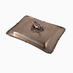 Antikes Tablett aus Silber & Kristallglas
