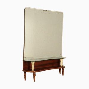Toeletta vintage impiallacciata in palissandro con specchio