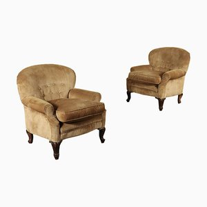 Antique Italian Padded Armchairs, Set of 2