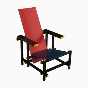 Red and Blue Side Chair by Gerrit Thomas Rietveld, 1980s