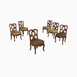 Antique Revival Walnut Chairs, Set of 6