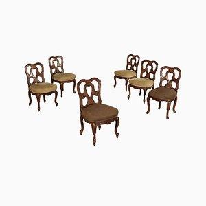 Chaises Anciennes Revival en Noyer, Set de 6