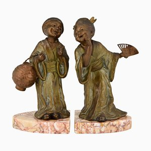 Art Deco Bookends depicting Chinese Children, Geo Maxim, 1930, Set of 2