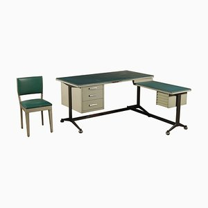 Lacquered Metal and Skai Desk Set, 1960s, Set of 3