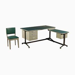 Set da scrivania in metallo laccato e skai, anni '60, set di 3