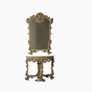 Consolle Revival antica con specchio