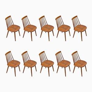 Chaises de Salle à Manger par Yngve Ekström pour Stolab, Suède, années 50, Set de 10