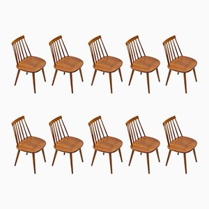 Swedish Dining Chairs by Yngve Ekström for Stolab, 1950s, Set of 10