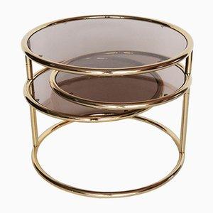 Mesa de centro de vidrio y metal dorado, años 70