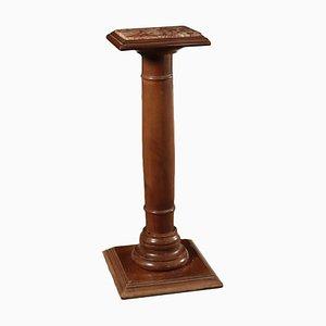 Antiker Säulentisch aus Nussholz & Marmor