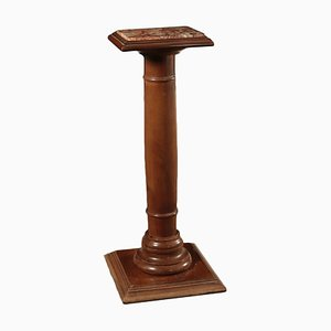 Antique Walnut and Marble Column Side Table