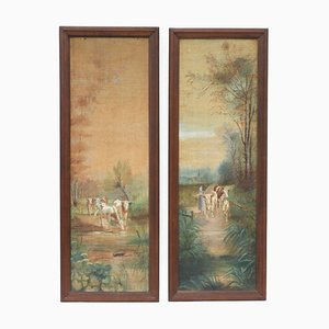 Antique French Oil Paintings, Set of 2