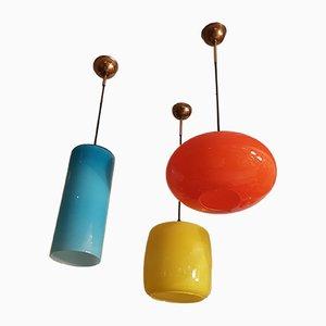 Lampade da soffitto vintage in vetro di Murano di Vistosi, anni '60, set di 3
