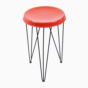 Red Metal Hairpin Stool by Tjerk Reijenga for Pilastro, 1950s