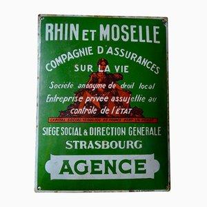 Cartel esmaltado de Émaillerie de Strasbourg, años 20