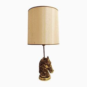 Lámpara de mesa con cabeza de caballo de bronce, años 70