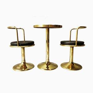 Juego de mesas y sillas de bar, años 70. Juego de 3
